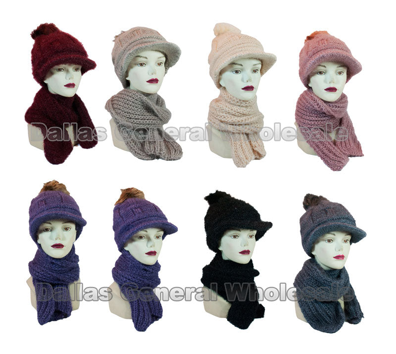 Ladies Knitted Pompom Visor Beanie Cap with Scarf Set Wholesale - Dallas General Wholesale