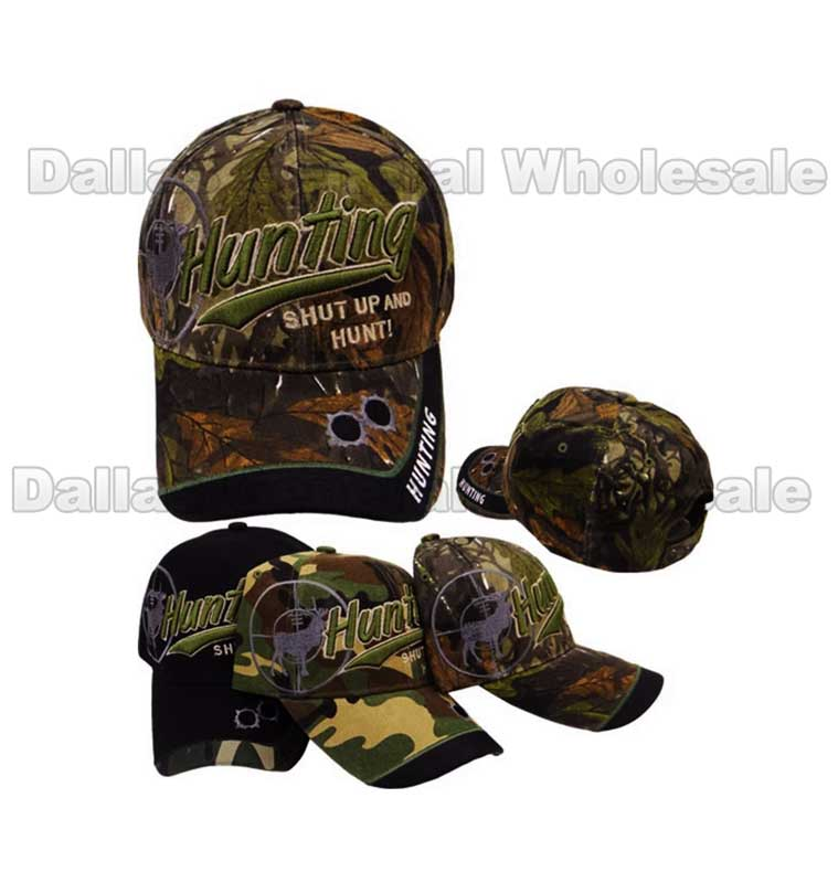 """Shut Up and Hunt"" Camouflage Caps Wholesale - Dallas General Wholesale"