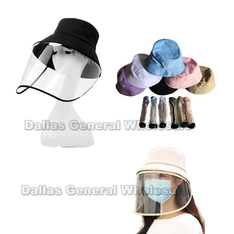 Adults Bucket Hats with Face Shield Wholesale