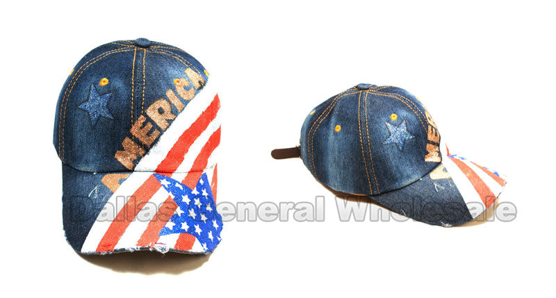 America Flag Glitter Ladies Denim Caps Wholesale - Dallas General Wholesale