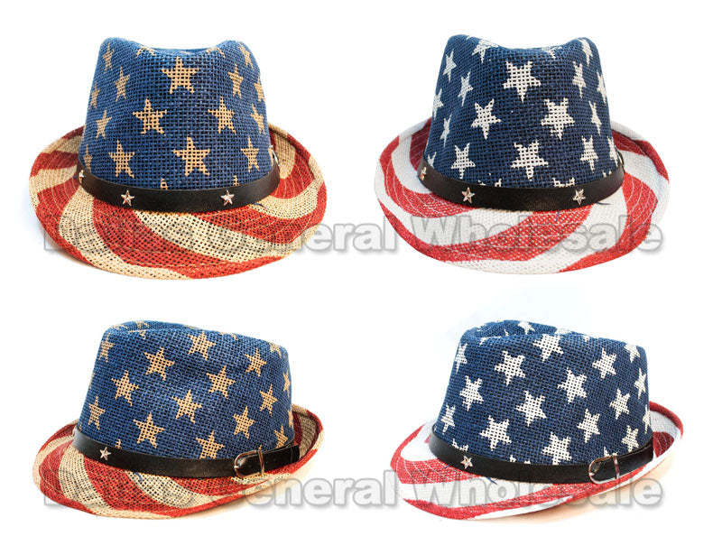 Ladies USA Flag Straw Dress Hats Wholesale - Dallas General Wholesale