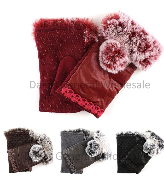 Girls Leather Fur Half Mitten Gloves Wholesale
