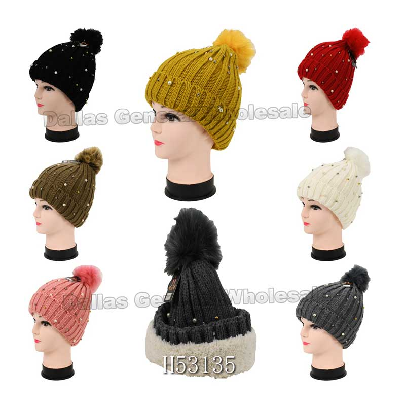 Girls Fashion Pearls Beanie Hats with Fuzzy Ball Wholesale - Dallas General Wholesale
