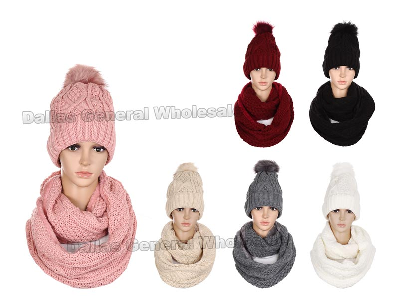 2 PC Thermal Beanie w/ Circle Scarf Set Wholesale - Dallas General Wholesale
