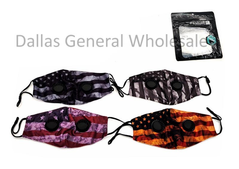 Double Velve Cotton USA Flag Face Masks Wholesale