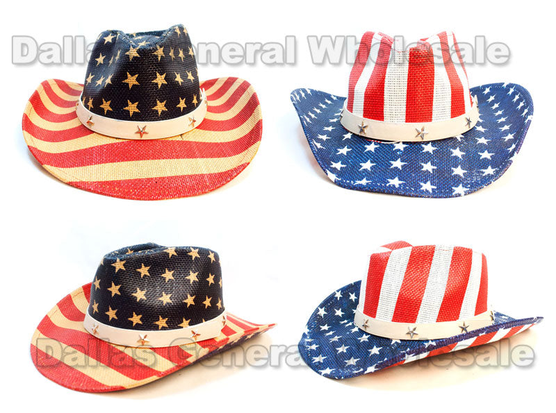 USA Flag Straw Cowboy Hats Wholesale - Dallas General Wholesale