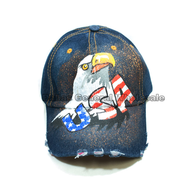 USA Eagle Glitter Ladies Denim Caps Wholesale - Dallas General Wholesale