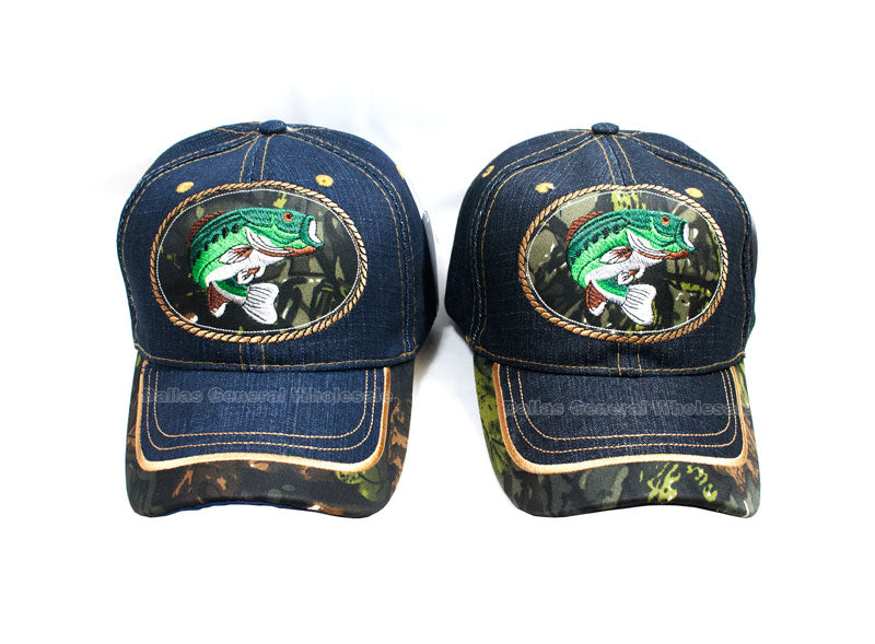 """Bass Fishing"" Casual Denim Caps Wholesale - Dallas General Wholesale"