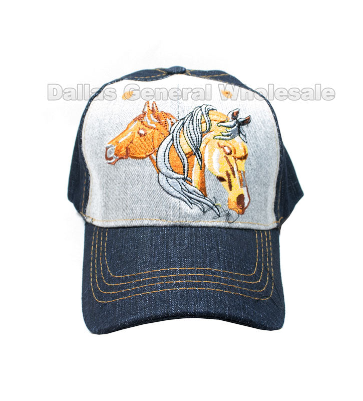 """Horse"" Denim Casual Caps Wholesale - Dallas General Wholesale"