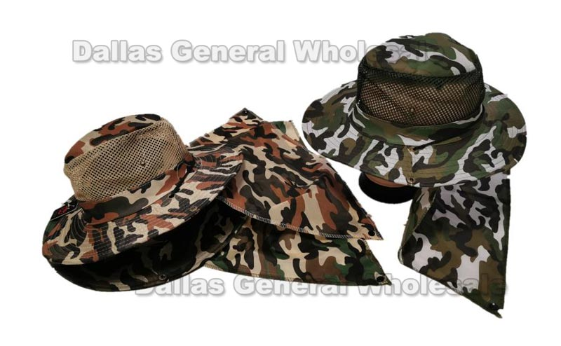 Camouflage Mesh Bucket Hats W/ Neck Cover Capes Wholesale