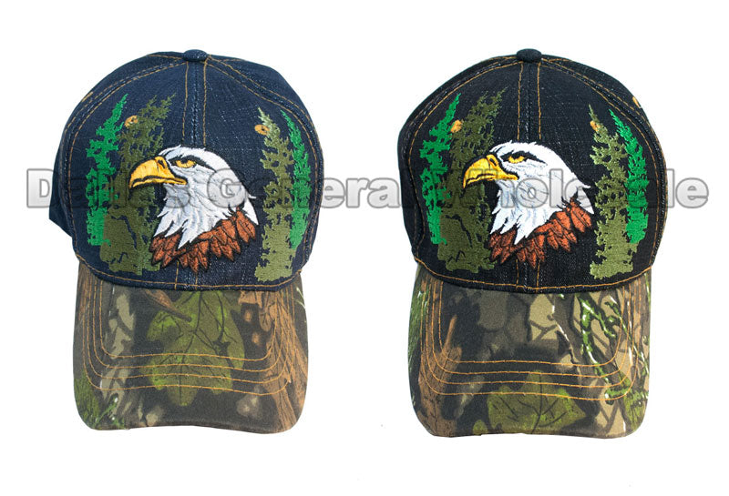 Bald Eagle Design Camouflage Fashion Denim Caps Wholesale - Dallas General Wholesale
