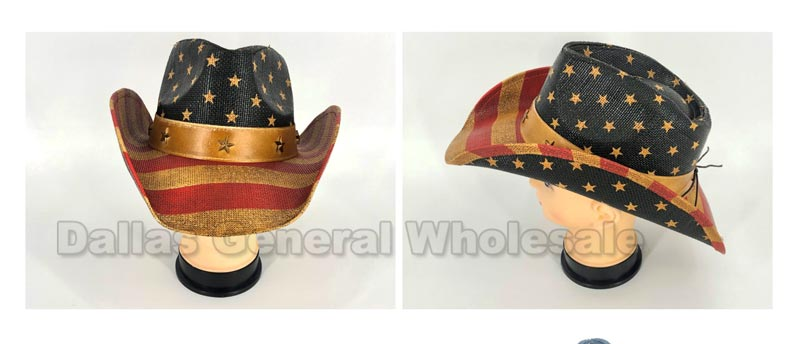 USA Flag Straw Cowboy Hats Wholesale