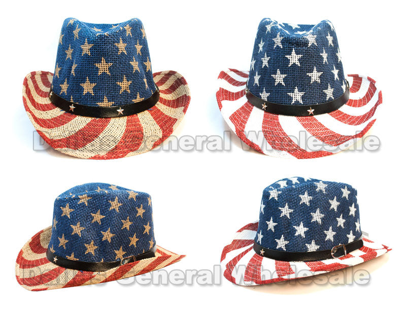 Men USA Flag Straw Dress Hats Wholesale - Dallas General Wholesale