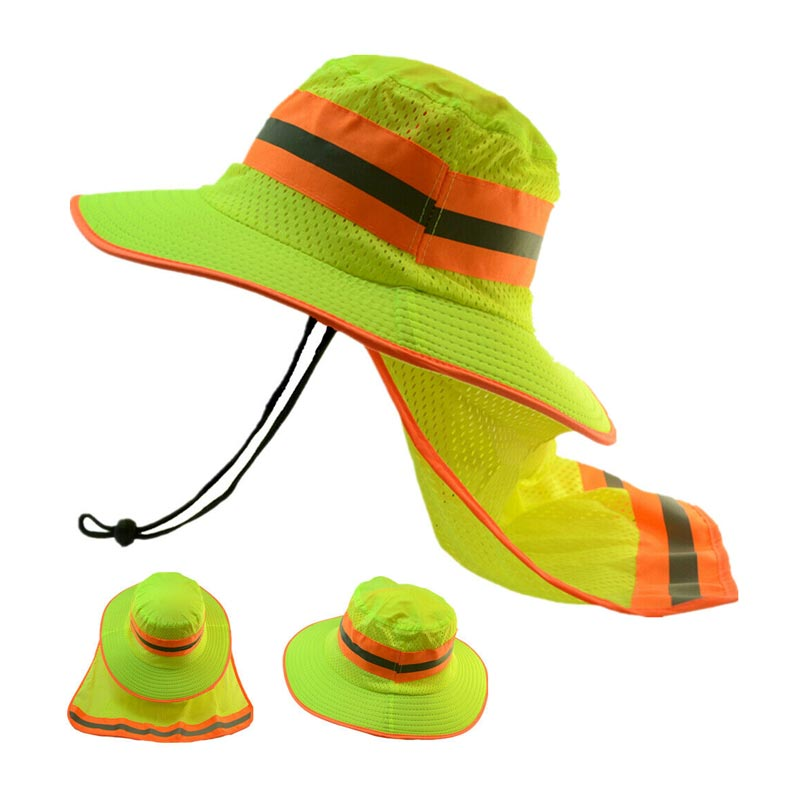 High Visibility Reflective Sun Hats with Neck Cloak Wholesale