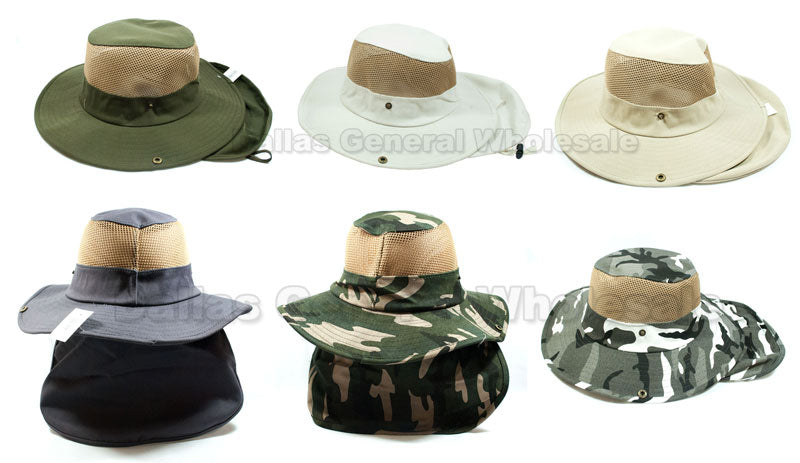 Adults Vented Bucket Hats with Neck Cover Wholesale - Dallas General Wholesale