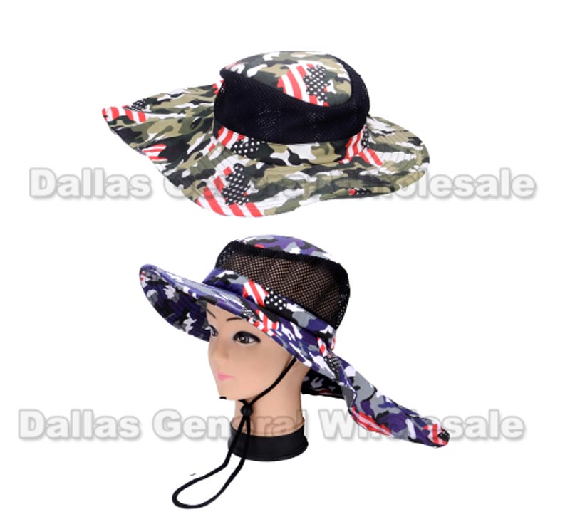 USA Flag Bucket Hat with Neck Cape Wholesale
