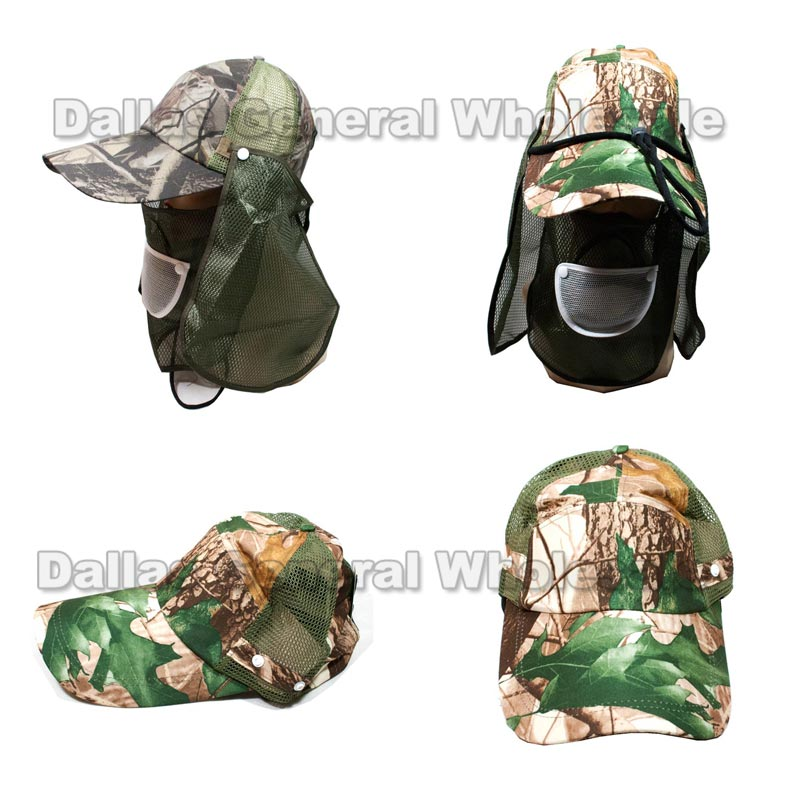 Camouflage Caps with Removable Face Cover Flap