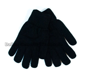 Adults Knitted Fleece Insulated Gloves Wholesale - Dallas General Wholesale