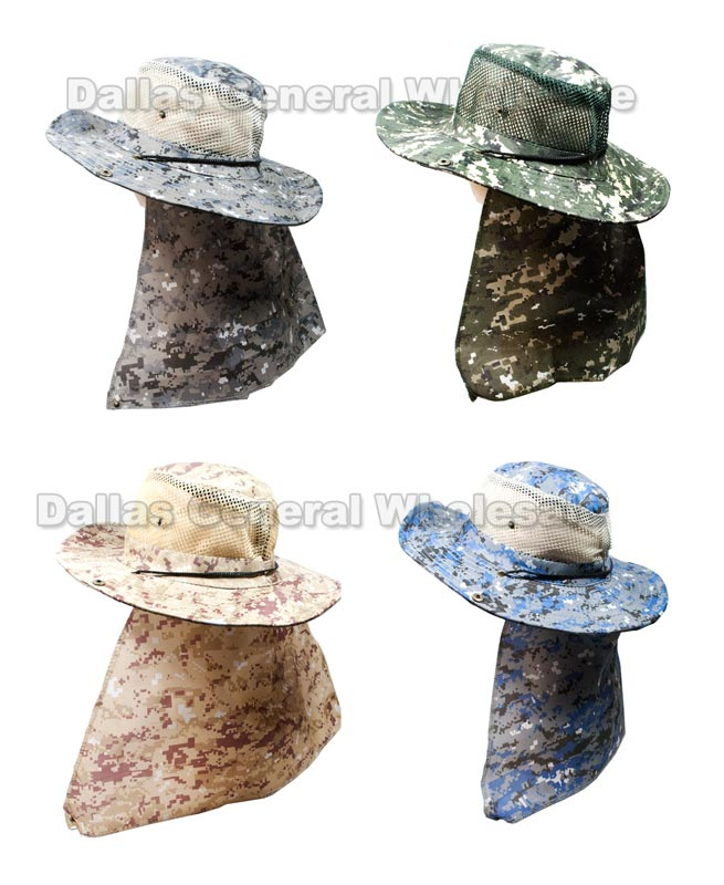 Digital Camouflage Bucket Hats with Neck Flap