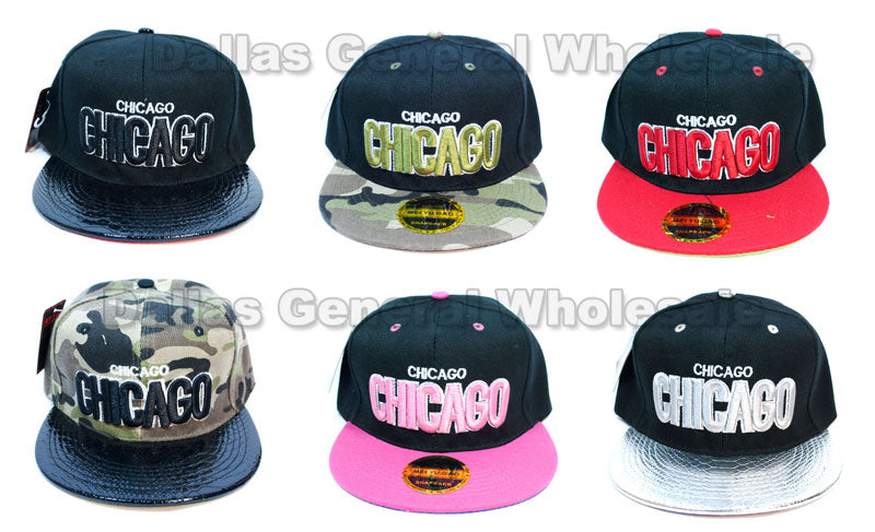 """Chicago"" Flat Bill Snap Back Caps Wholesale - Dallas General Wholesale"
