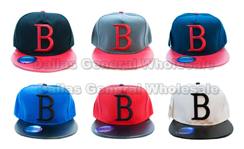 Initial B Flat Bill Snap Back Caps Wholesale - Dallas General Wholesale