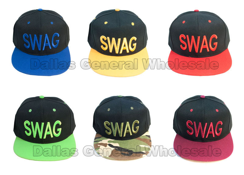 """Swag"" Casual Flat Bill Caps Wholesale - Dallas General Wholesale"