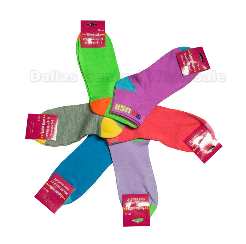 Girls USA Neon Color Casual Socks Wholesale - Dallas General Wholesale