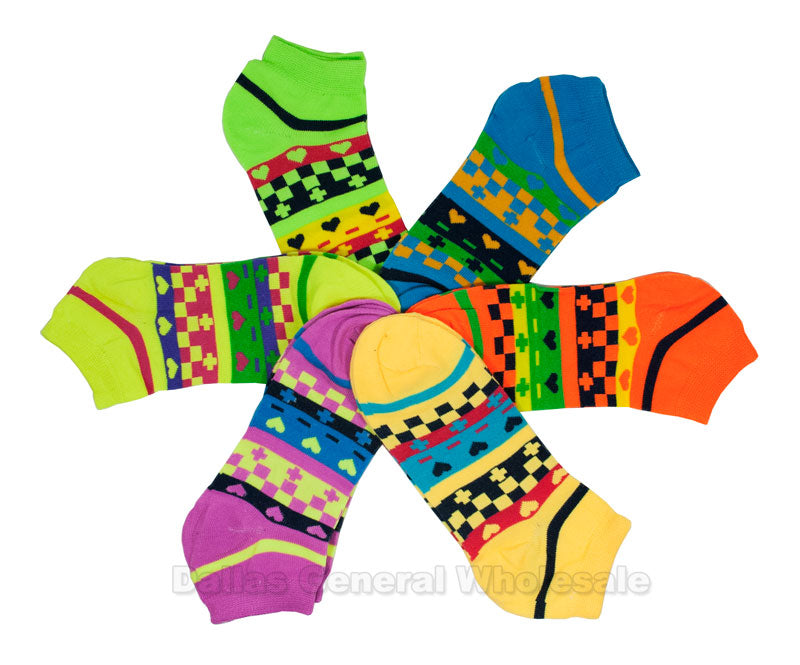 Ladies Neon Casual Ankle Socks Wholesale - Dallas General Wholesale