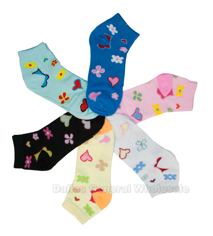 Girls Casual Ankle Socks with Flower Prints Wholesale - Dallas General Wholesale