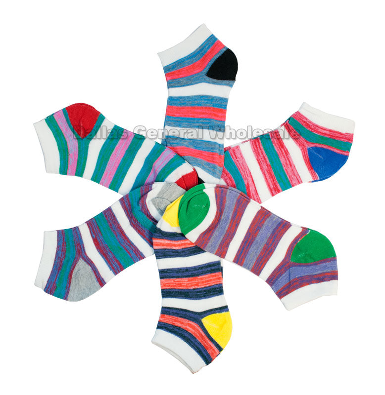 Girls Casual Ankle Socks with Stripes Wholesale - Dallas General Wholesale