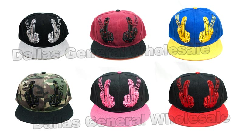Peace Sign Snap Back Flat Bill Caps Wholesale