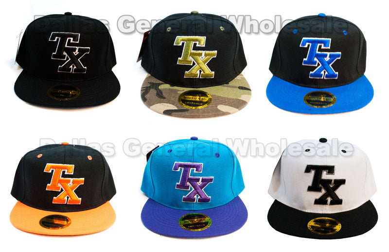 """TX"" Fashion Flat Bill Snap Back Caps Wholesale - Dallas General Wholesale"