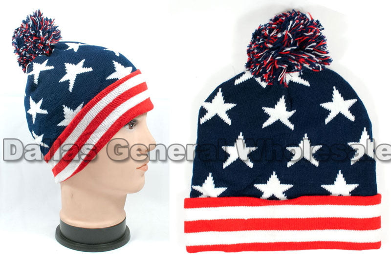 American USA Flag Skull Beanie Caps Wholesale - Dallas General Wholesale