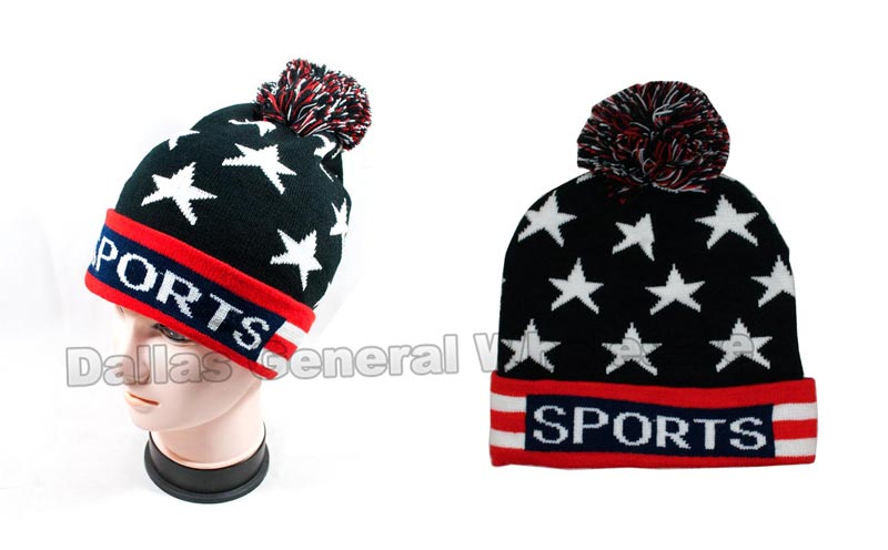 USA American Flag Knitted Beanie Caps Wholesale - Dallas General Wholesale