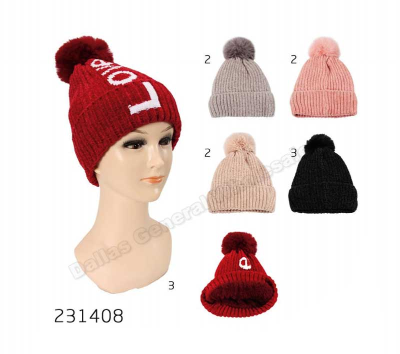 Pom Pom Ball Fur Insulated Beanie Caps Wholesale - Dallas General Wholesale