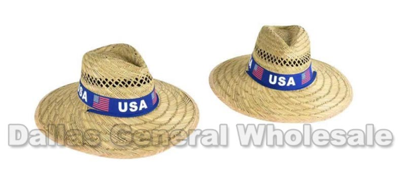 Adults Summer USA Straw Hats Wholesale