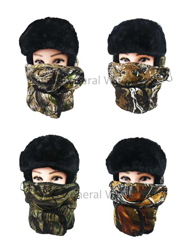 Camouflage Fur Bomber Hats with Mask Wholesale - Dallas General Wholesale