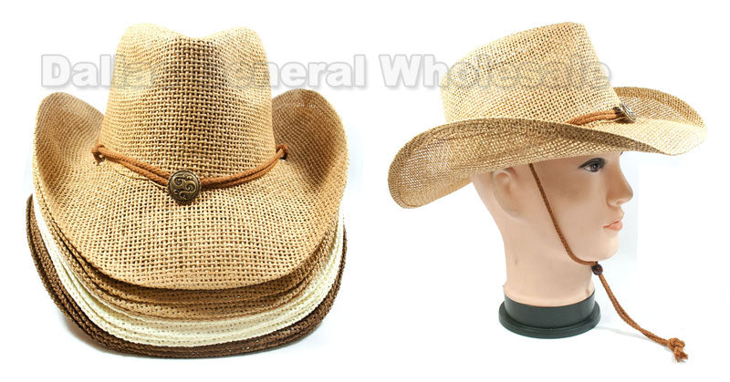 Adults Vented Straw Cowboy Hats Wholesale - Dallas General Wholesale