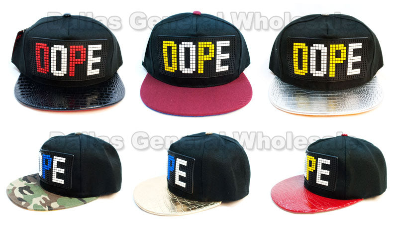 """DOPE"" Trendy Snap Back Flat Bill Caps Wholesale - Dallas General Wholesale"