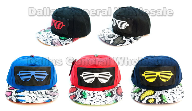 """Sunshades"" Trendy Snap Back Flat Bill Caps Wholesale - Dallas General Wholesale"