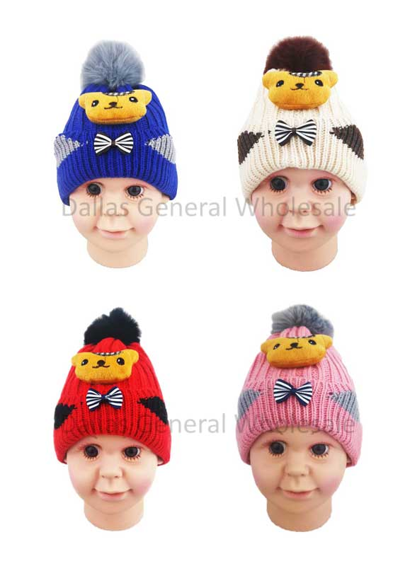 Toddlers Fur Lining Bear Beanie Hats Wholesale - Dallas General Wholesale
