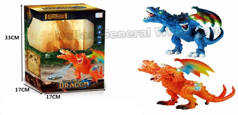 B/O Electronic Toy 2 Headed Dragons Wholesale - Dallas General Wholesale