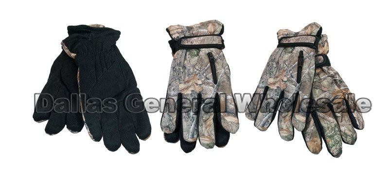 Men Camouflage Heavy Insulated Gloves with Pockets Wholesale - Dallas General Wholesale