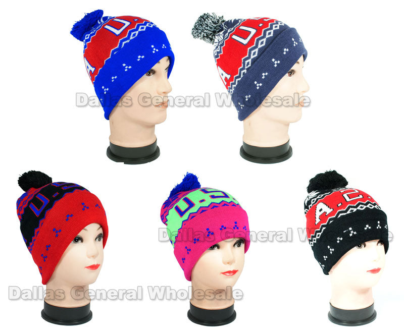 USA Printed Fashion Beanie Hats Wholesale - Dallas General Wholesale