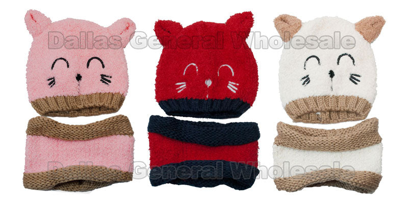 Kids Fur Insulated Beanies Hats and Headband Set Wholesale - Dallas General Wholesale
