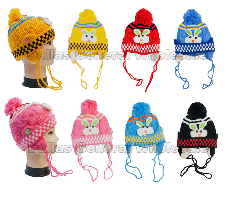 Childrens Fur Lining Bunny Beanie Hats Wholesale - Dallas General Wholesale