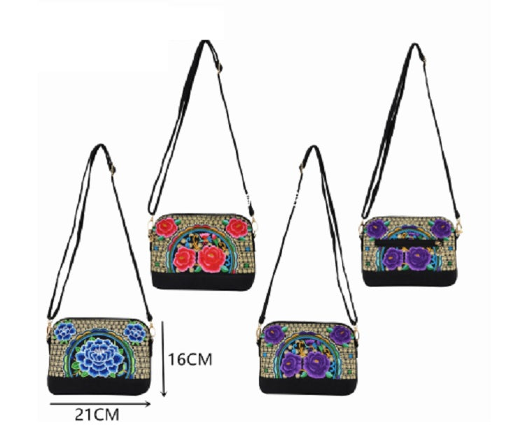 Embroidered Cultural Shoulder Bags Wholesale - Dallas General Wholesale