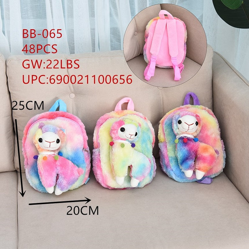 Girls Fluffy Llama Backpacks Wholesale - Dallas General Wholesale