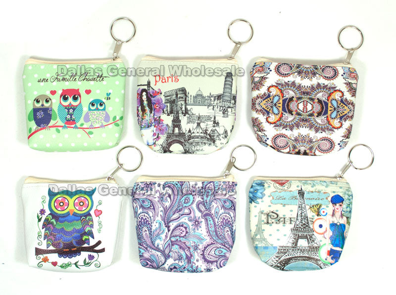 Printed Key Chain Coin Purses Wholesale - Dallas General Wholesale