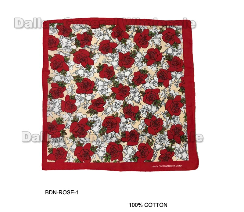 Roses Designed Bandannas Wholesale